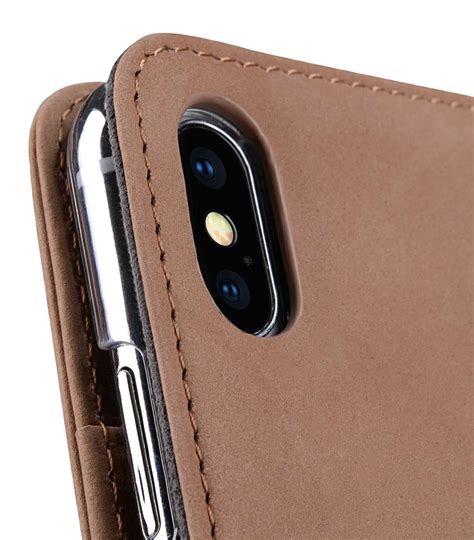 premium leather for apple iphone xs max wallet book id slot type classic vintage brown