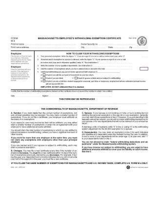 sle of w4 form massachusetts state form w 4