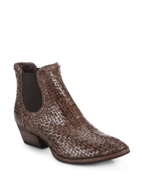 aquatalia desire woven leather boots in brown lyst