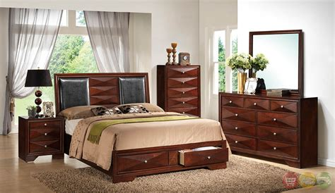 cherry bedroom sets leona contemporary cherry platform bedroom set with full