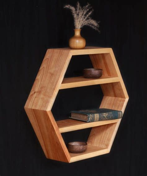 mid century modern furniture essential oils shelf hexagon honeycomb shelf kitchen shelving