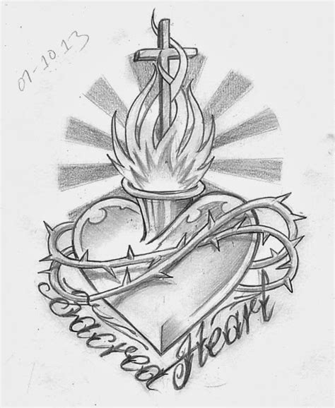 sacred heart tattoo design sketch a day october 2013