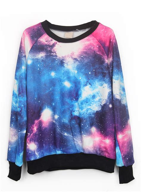 Sweater Cools Roffico Cloth pink and blue galaxy print pullover sweatshirt shein sheinside