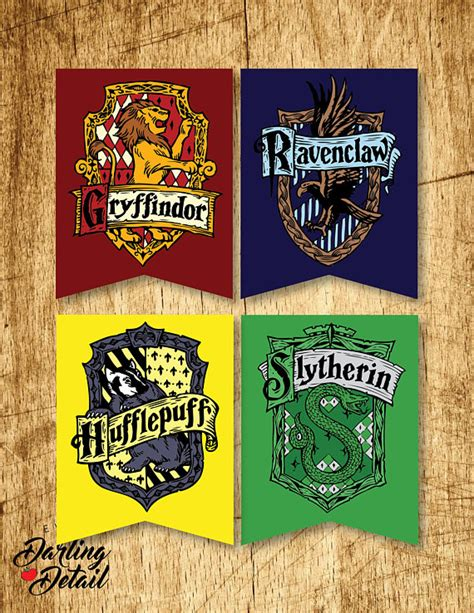 printable hogwarts house banners harry potter printable hogwarts house crest banners