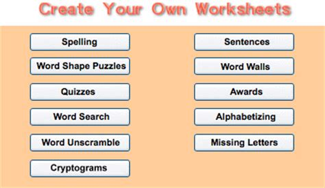 Make Your Own Spelling Worksheets by Homework Spelling Sheets