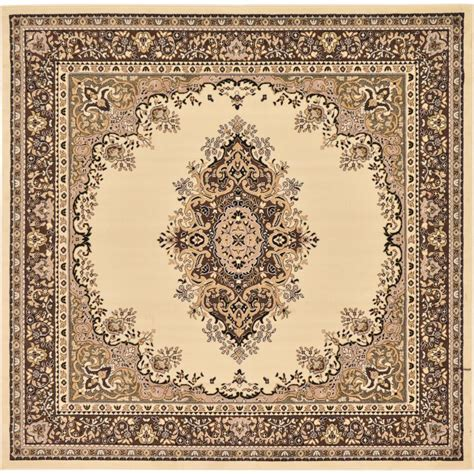 8 x 8 square rug unique loom mashad ivory 8 ft x 8 ft square rug 3128727 the home depot