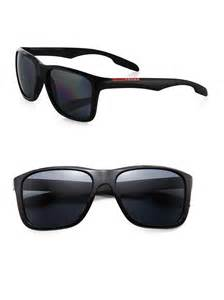 prada square aviator sunglasses in black for lyst