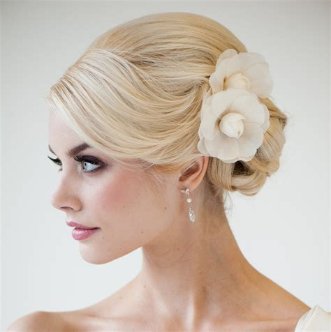 hair flower clip bridal wedding flower girl tulle silk bridal flower hair clips silk camilla flowers headpiece