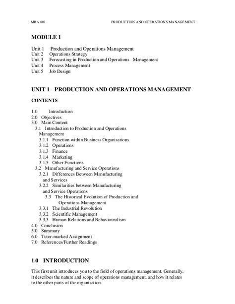 Mba In Operations Management Scope by Mba 801 Production And Operations Management