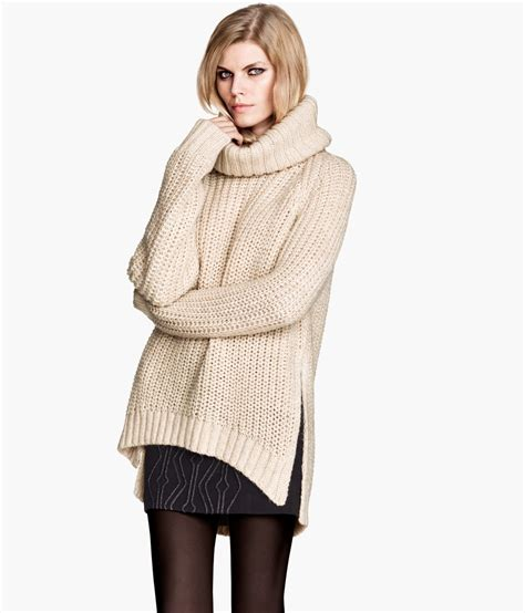 pattern knit sweater h m h m pattern knit polo neck jumper in natural lyst