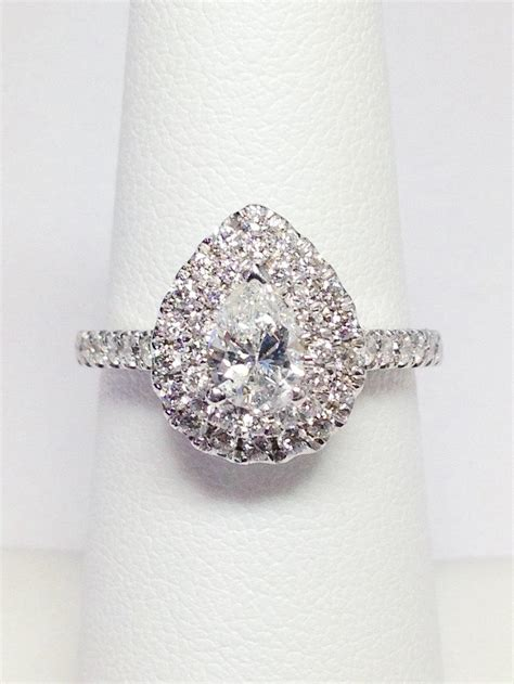 1 00ct pear shape halo engagement ring