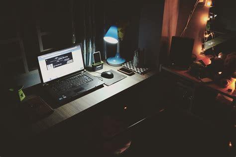 laptop on desk computer laptop desk light l room hd others 4k
