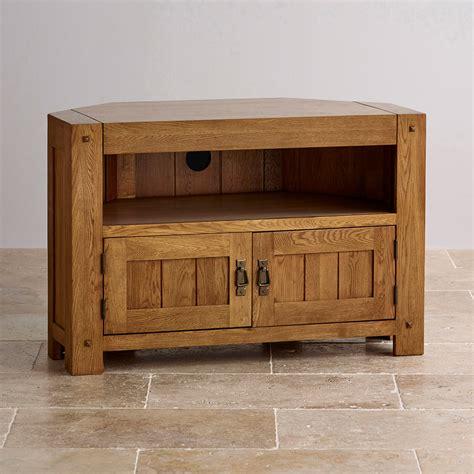 Quercus Corner TV Cabinet in Rustic Oak   Oak Furniture Land