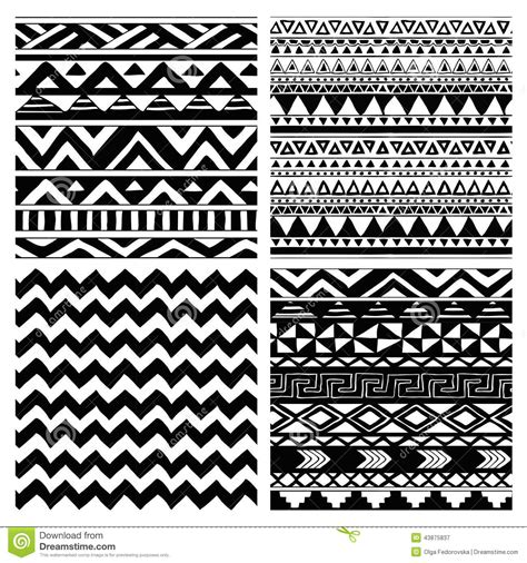 pattern drawing tribal aztec tribal seamless black and white pattern set stock