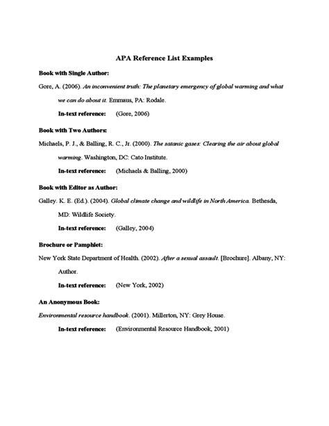 Apa Emergency L apa references list exle free