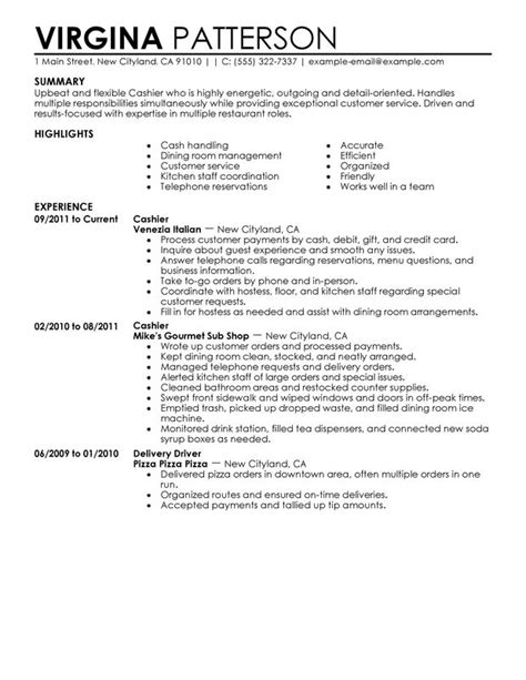 fast food sle resume 10 cashier description for resume sle