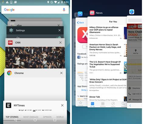 most recent android version ios 9 app switching and the back to app button