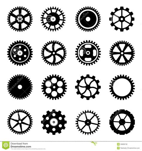 cogwheels gear wheels of different design stock vector
