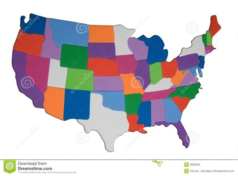 the color of us usa map outline with colored states photo illustration