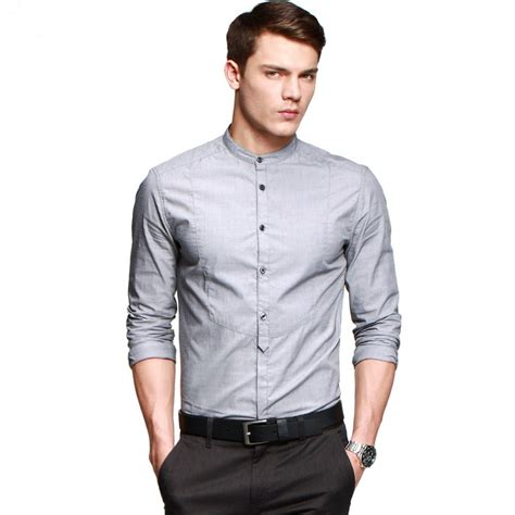 2014 mens slim fit shirt cotton casual mandarin collar