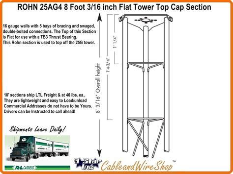 antenna tower sections rohn 25ag4 8 foot 3 16 inch flat tower top cap section