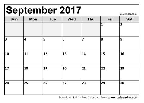 Calendar September 2017 Excel September 2017 Calendar Printable And Template