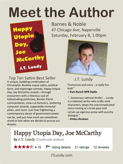 meet the author barnes amp noble february 8 1 00 pm jt lundy