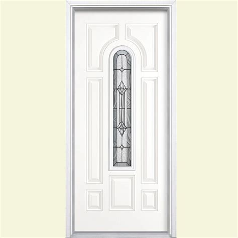 Fiberglass Exterior Doors Reviews Masonite 36 In X 80 In Providence Center Arch Painted Smooth Fiberglass Prehung Front Door