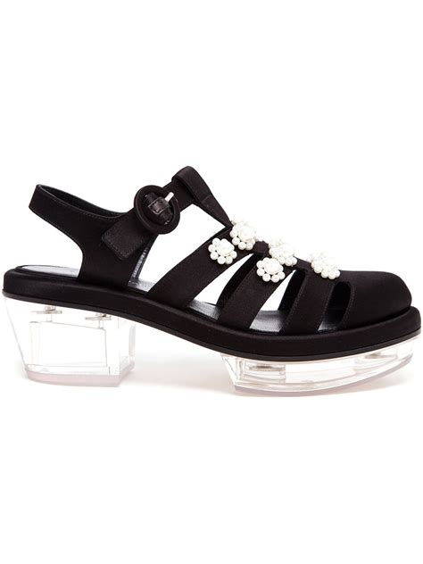 satin sandals rocha pearl embellished satin sandals in black lyst