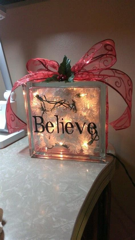 glass block christmas decoration holiday birthday gift