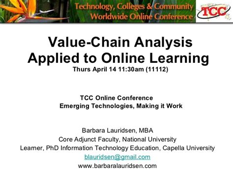 Value Of Distance Mba by Tcc Value Chain Analysis Learning