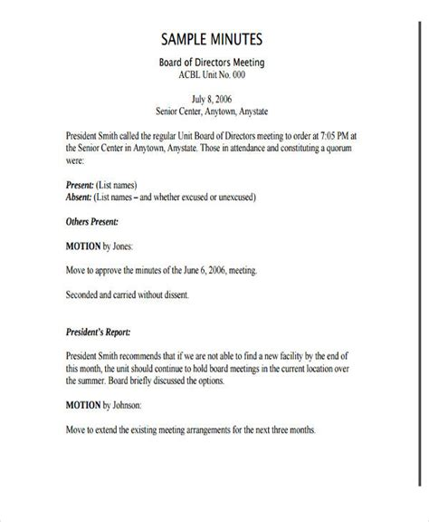 board of directors meeting minutes template board of directors meeting minutes template nonprofit