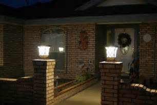 Patio Pillar Lights Solar Power Fence Post Pillar Column Light Lighted Landscape Home Porch Lights 1 Ebay