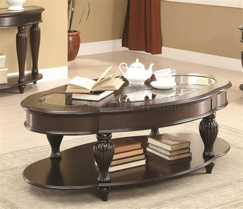 703848 coffee table by coaster in merlot w optional