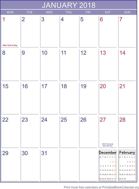 printable january 2018 calendar template january 2018 printable calendar template printable blank