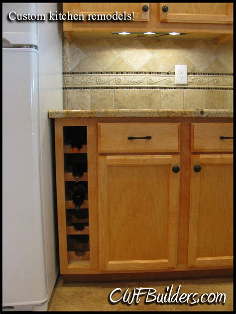 kitchen cabinets with wine storage