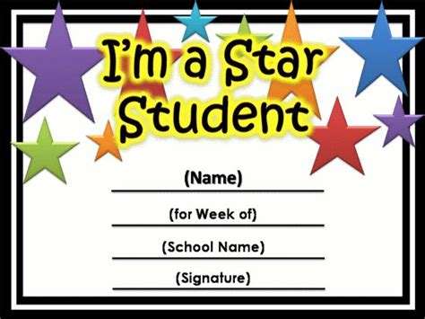 free templates for awards for students free star awards templates certificates star student