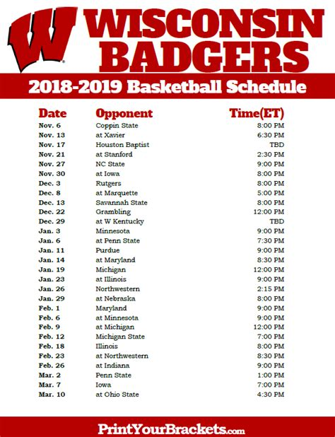 Wisconsin Badgers Football Schedule 2018 Printable printable alabama crimson tide 2018 2019 basketball