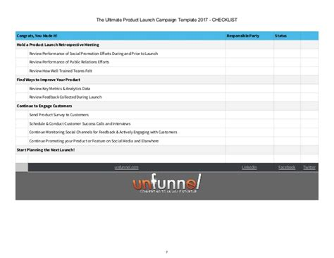 2017 product launch checklist template