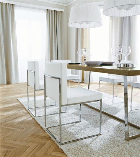 sophisticated white leather dining chairs