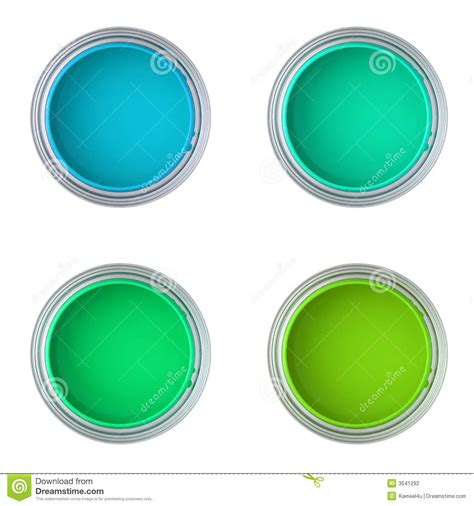 blue green paint cans with blue and green paint stock photo image 3541292