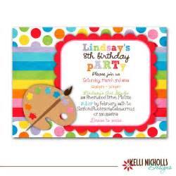 art birthday party invitation bright colors custom for
