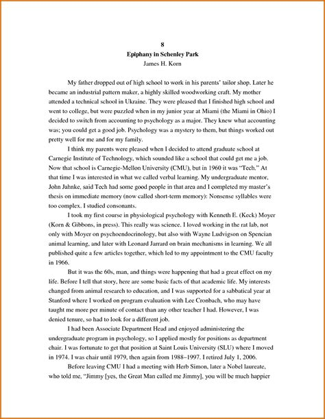 Autobiographical Essay Exle by 8 How To Write Autobiography For College Lease Template