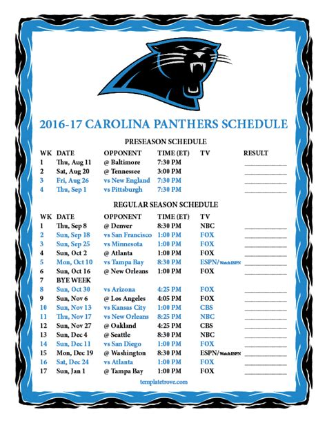 carolina panthers schedule 2016 2017 printable calendar