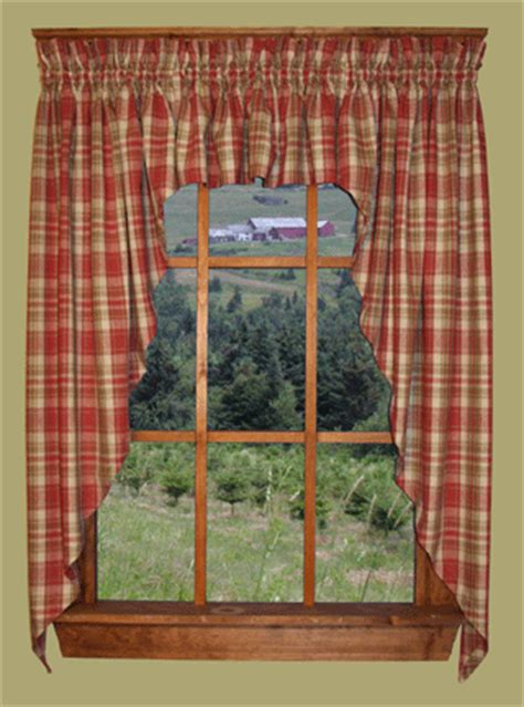 country swag curtains country homestead primitive plaid 3 pc swag curtain sets