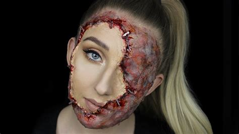 stapled  face gory halloween makeup tutorial youtube