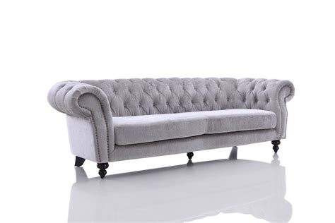 Divani Casa Alexandrina Grey Tufted Fabric Sofa Set Modern Grey Sofa