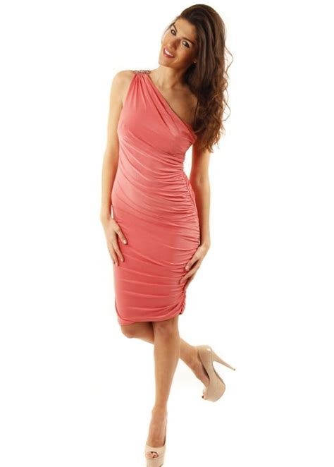 draped midi dress pink grecian goddess one shoulder draped midi dress