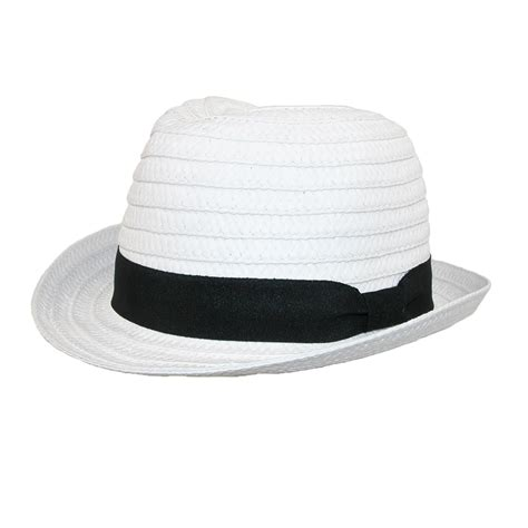 womens paper straw white fedora hat with black band by