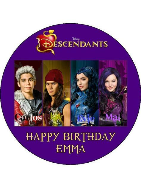 "Disney Descendants 7.5"" Rice Paper Birthday Cake Topper   eBay"